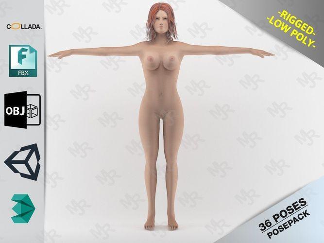naked girl 1 3d model rigged max obj mtl fbx dae unitypackage prefab 1