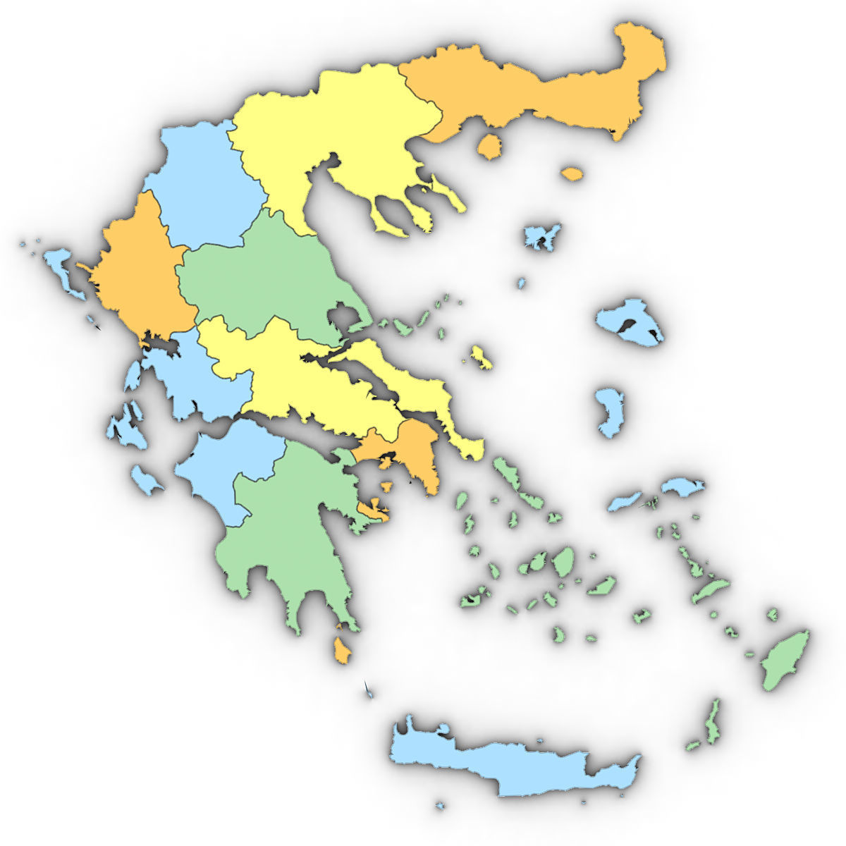 3d Model Political Map Of Greece Cgtrader