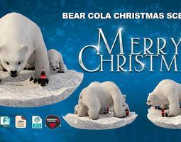 VR / AR ready Cartoon Realistic Ice Bear Coca Cola Scene 3