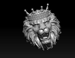 3D printable model lion ring with crown