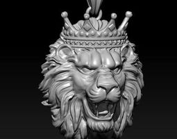 lion necklace with crown 3D print model