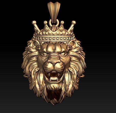 lion necklace with crown 3d print model cgtrader