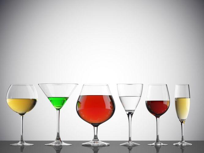 empty and full glasses on white background 3d model max obj mtl fbx 1