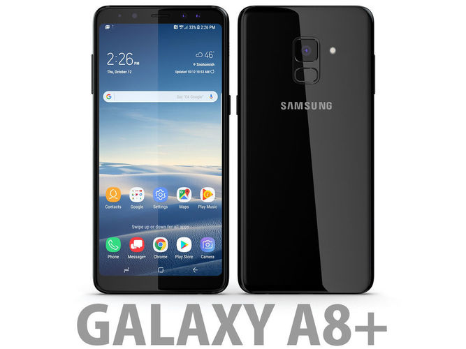 Samsung Galaxy A8 Plus 2018 Black 3D model | CGTrader