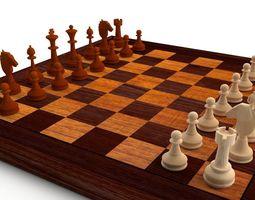 wood Chess Set 3D model
