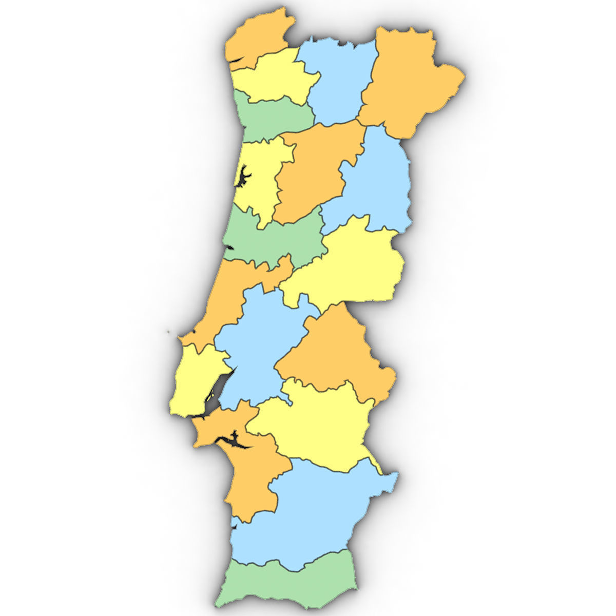 3d Political Map Of Portugal Cgtrader