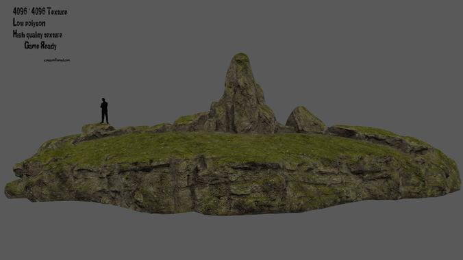 forest rocks 3d model low-poly obj mtl fbx blend 1