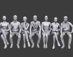 3D asset Lowpoly People Sitting Pack Volume 6
