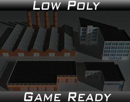 Factory Building Set 4 3D asset