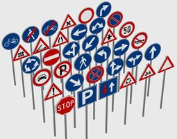 3D model Road Signals Pack - Traffic Signs - Stop - One 3