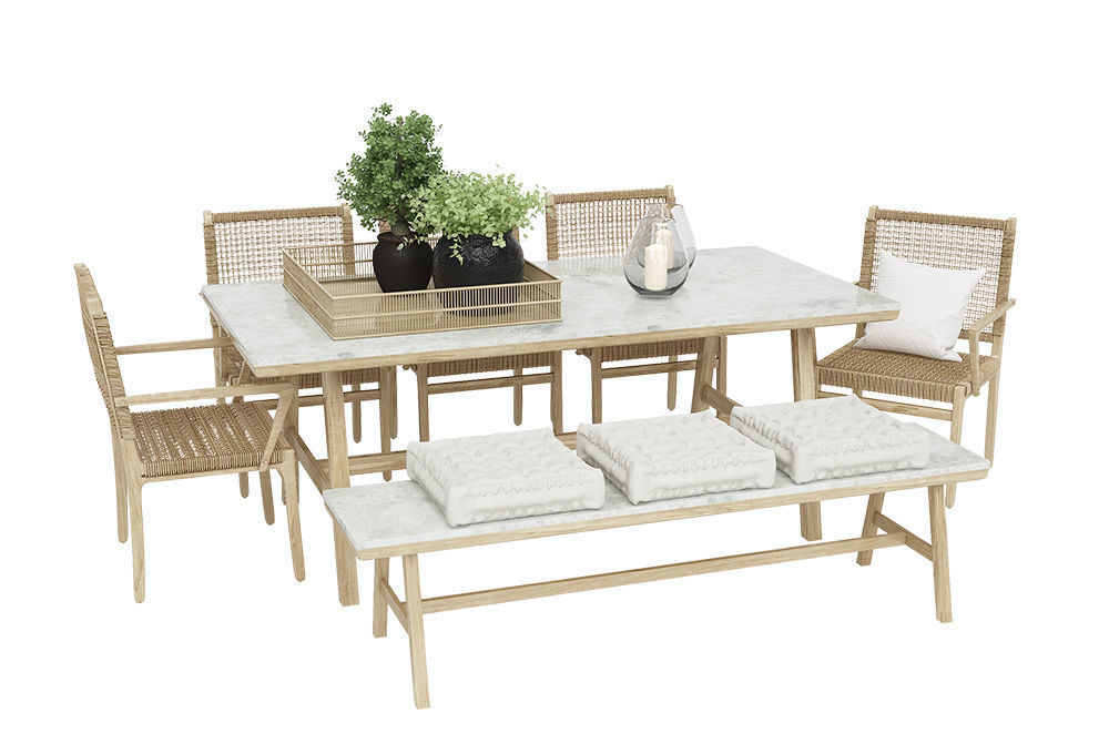 Chai outdoor table with rotting wood chair and bench set