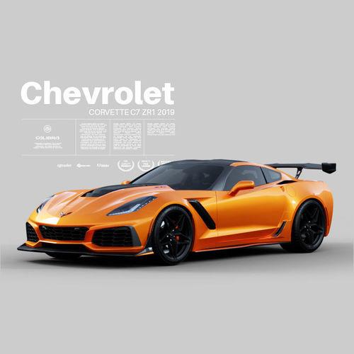 3D Chevrolet Corvette C7 ZR1 2019