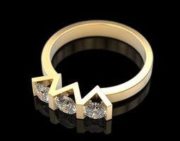 3D printable model jewelry Ring with 3 stones