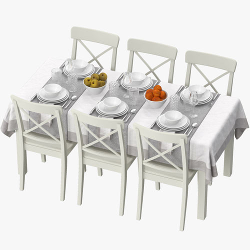ikea table dining set 3d model max obj mtl fbx 1
