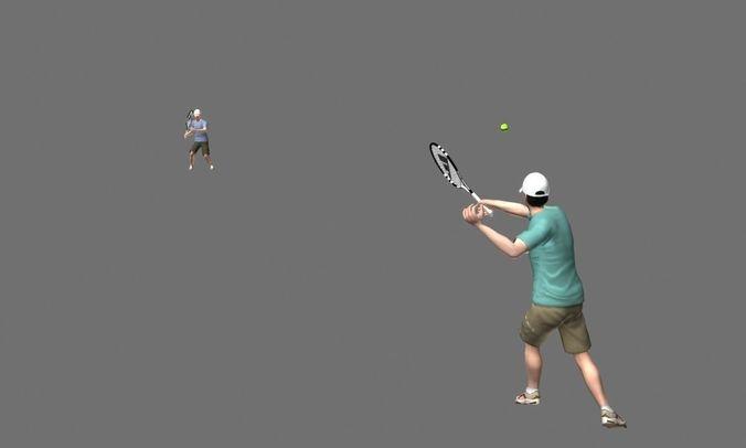 playing tennis 3d model animated max fbx tga 1