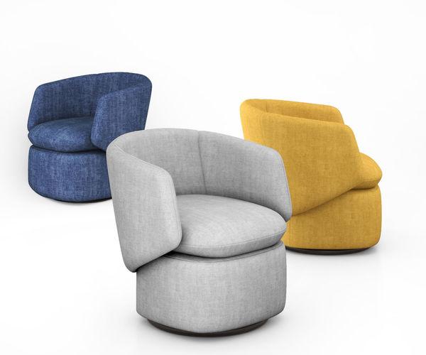 crescent swivel chair by west elm 3d model max obj mtl tga 1