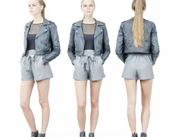 3D asset Ponytail Girl In Black Leather jacket and Grey