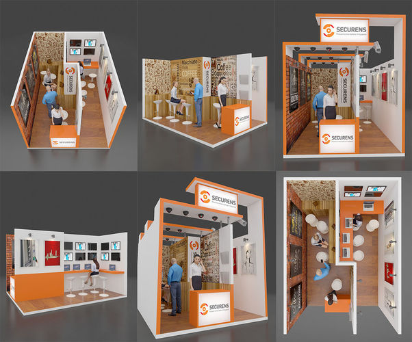 exhibition stall 3d model max 1