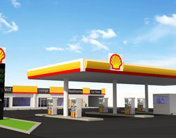 Gas Station lowpoly 3D model