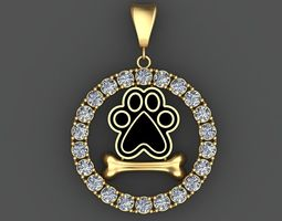 DOG PAW and BONE 3D Pendant with Diamonds 3D Printable