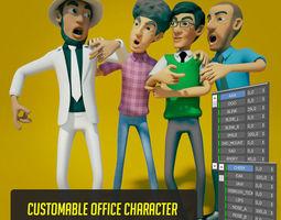 3D animated CARTOON OFFICE MAN