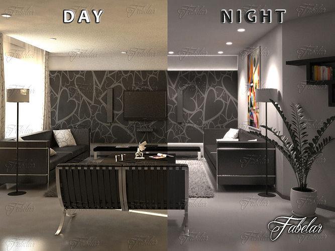 Living Room 11 Day Night 3D Model