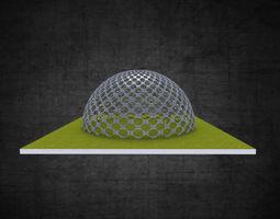 3D asset Dome hexagonal grid circular pattern large scale