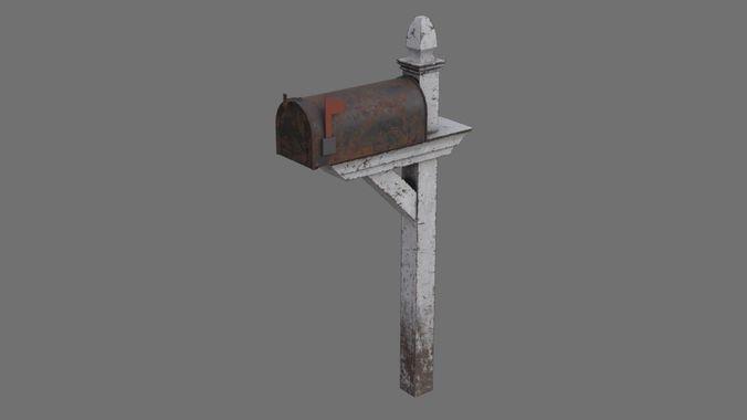 letter box 1b 3d model low-poly obj mtl fbx blend 1 ...