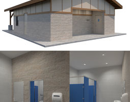 3D Public Building-002 Restroom With Interior