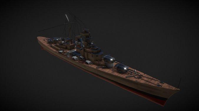 bismark battleship 3d model max fbx pdf spp 1