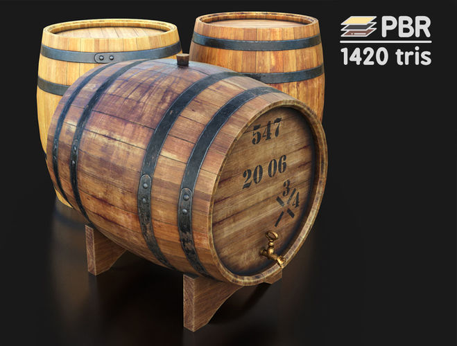 wooden wine barrels 3d model low-poly max obj mtl fbx unitypackage prefab 1