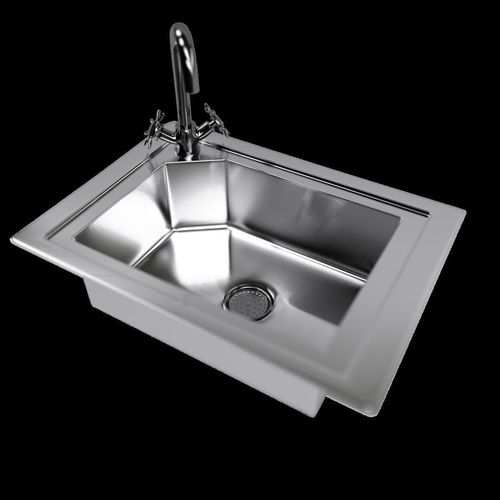 Kitchen Sink with Water Tap and Drain 3D model | CGTrader