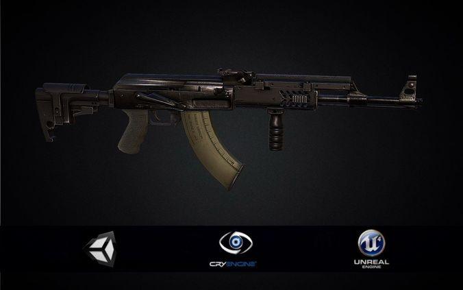 pbr ak 47 assault rifle tactical 3d model low-poly obj mtl 3ds fbx stl blend dae 1