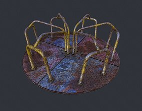 3D asset low-poly Old Merry Go Around pbr