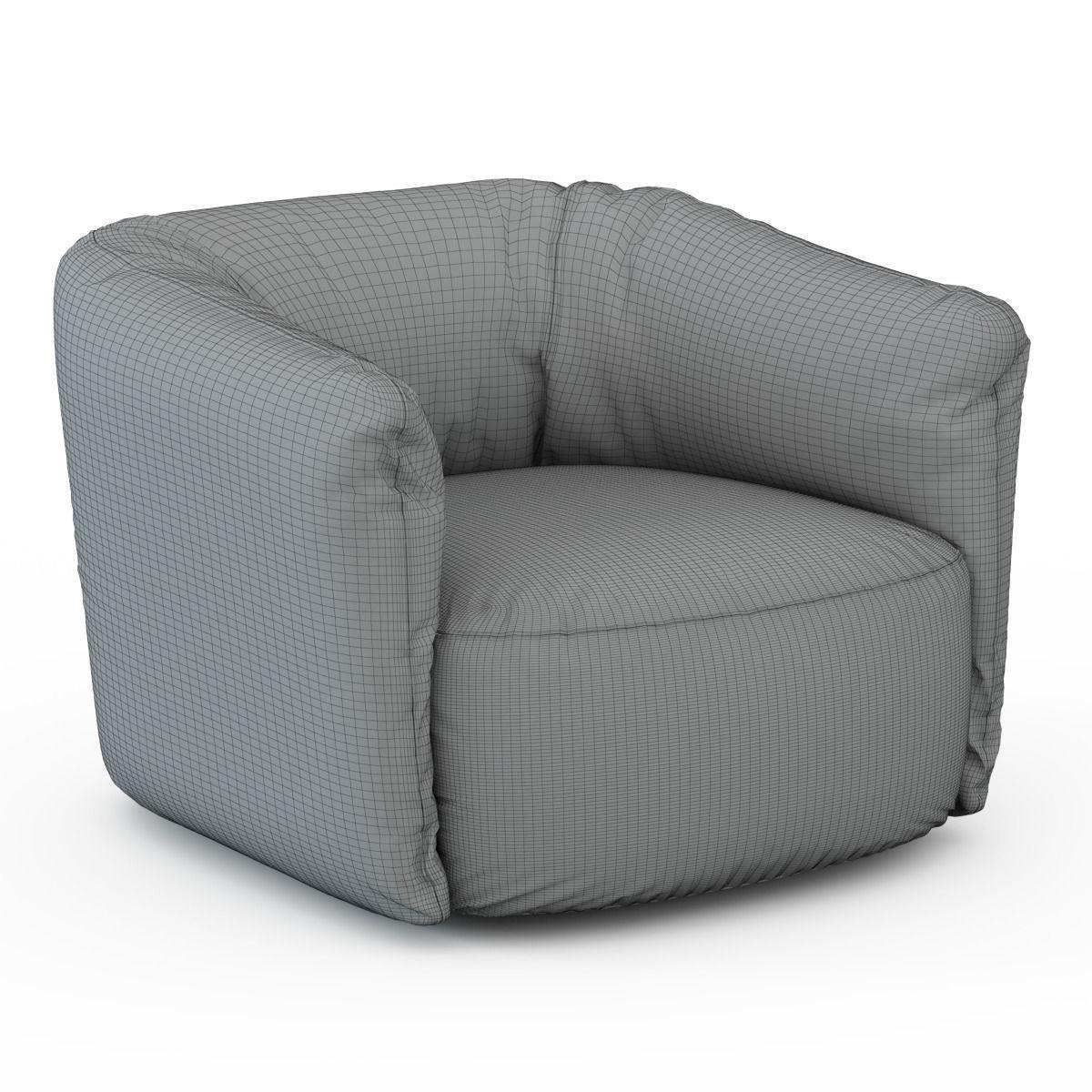 ... Santa Monica Leather Swivel Armchair Poliform 3d Model Max 3