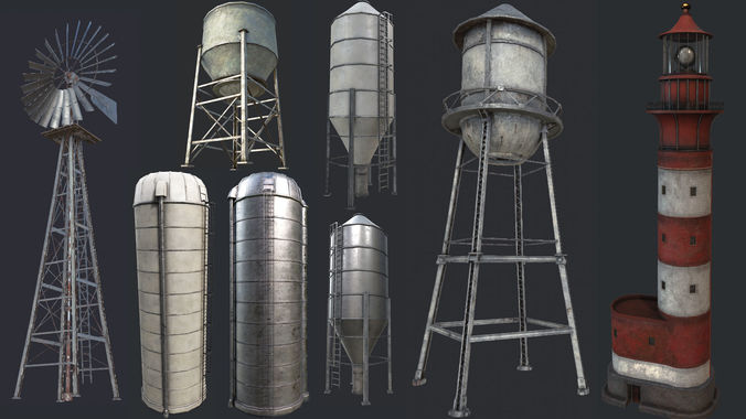 industrial structures pbr collection 3d model low-poly max obj mtl 3ds fbx dae tga 1