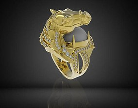307 Diamond Horse Ring For Men 3D printable model