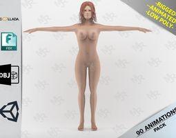 Naked Girl1 Animations Pack 3D model