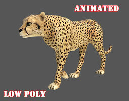 Low poly Cheetah Animated - Game Ready 3D model