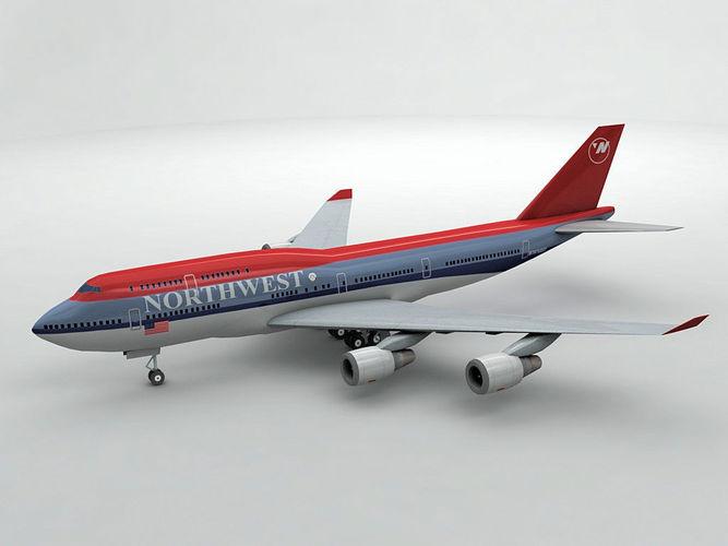 boeing 747-400 airliner - northwest airlines 3d model max obj 3ds dxf stl wrl wrz 1