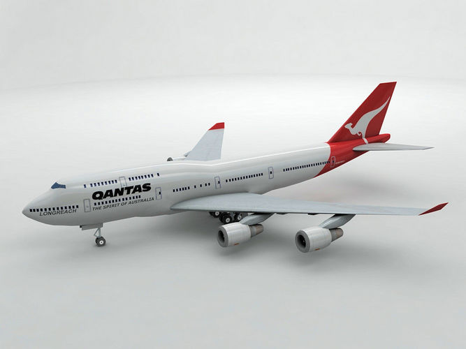 boeing 747-400 airliner - qantas airlines 3d model max obj 3ds dxf stl wrl wrz 1