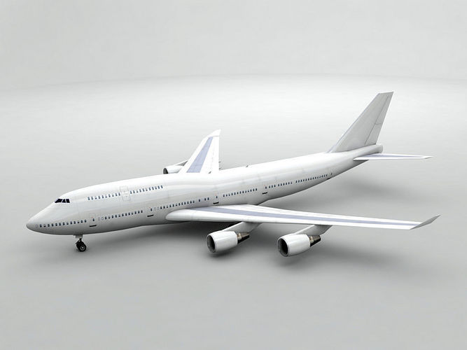 boeing 747-400 airliner - generic white 3d model low-poly max obj 3ds dxf stl wrl wrz 1