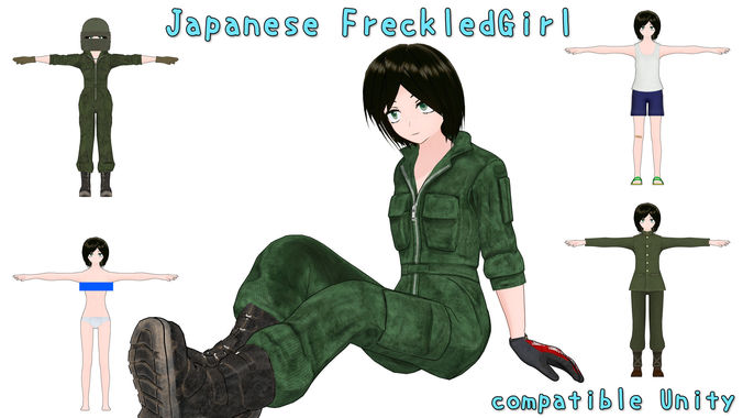 japanese freckledgirl 3d model fbx 1