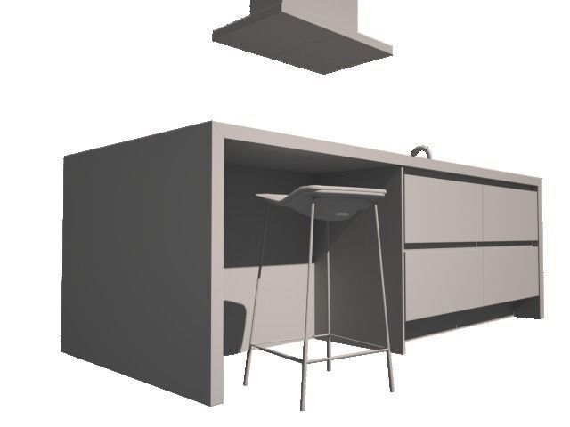3d modern kitchen with boretti and barstool cgtrader
