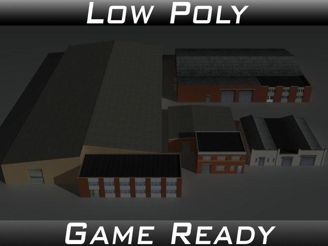 factory building set 6 3d model low-poly obj mtl 3ds fbx 1