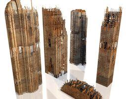 buildings Skyscrapers in ruins 3D model