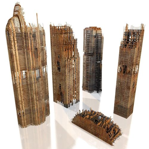 skyscrapers in ruins 3d model obj mtl c4d 1