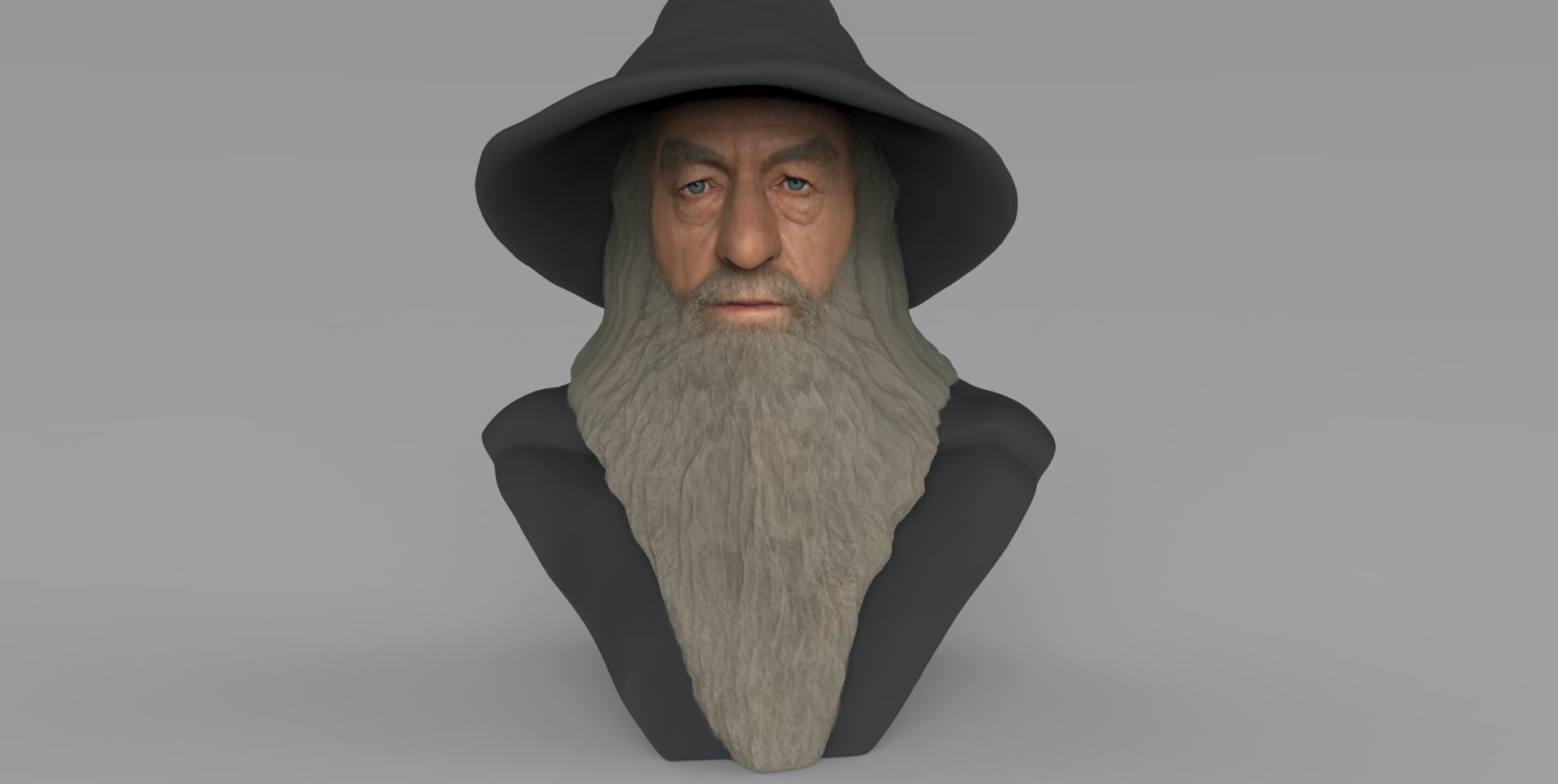 Gandalf Lord of the Rings bust ready for full color 3D printing