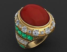 RED OVAL CABOCHON WOMAN RING 3D print model