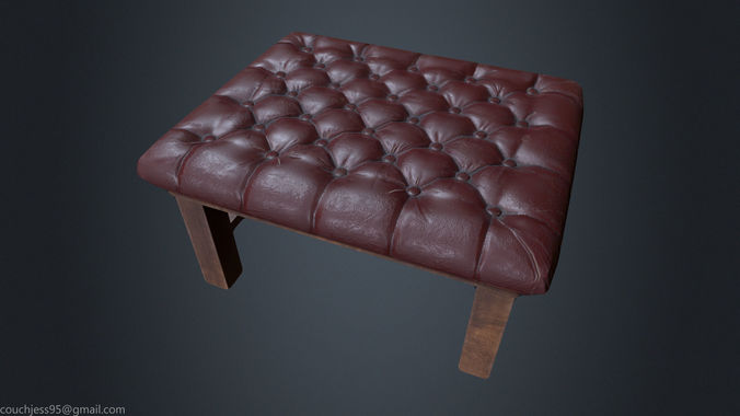 Leather Chesterfield Stool - Leather Chair - Vintage Chair